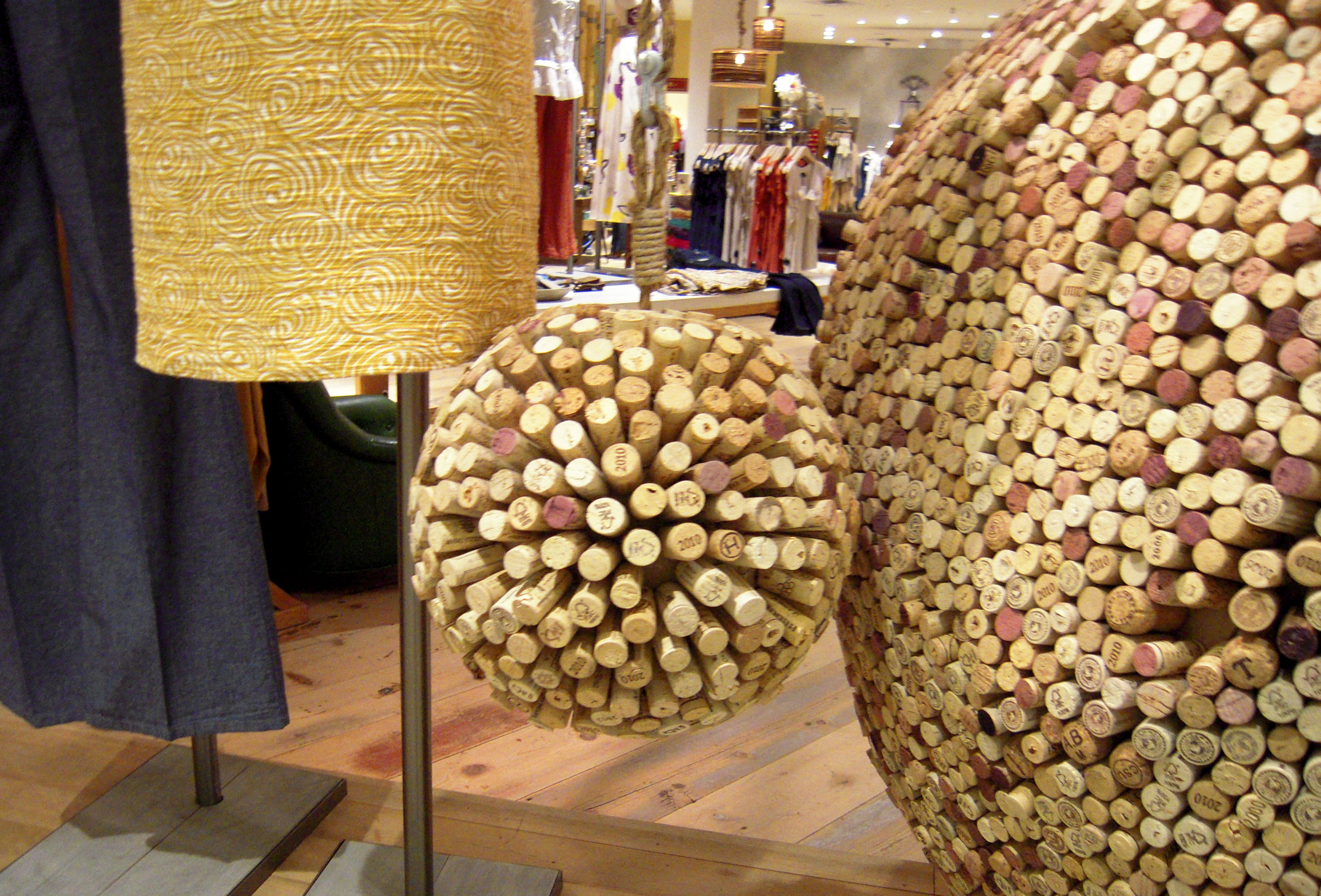 Anthropologie window display of cork balls made from recycled wine corks