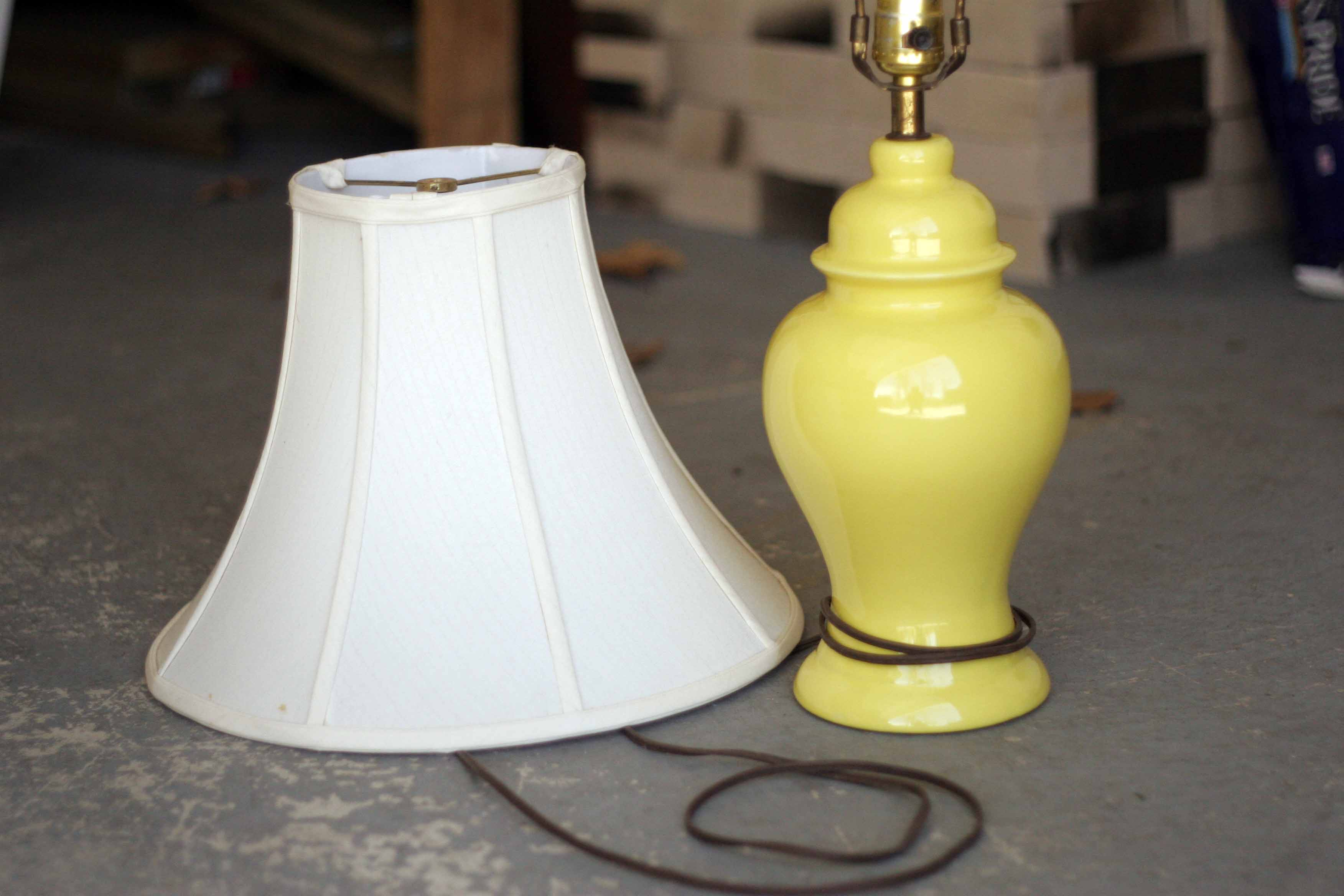 before and after thrifted yellow lamp. Black Bedroom Furniture Sets. Home Design Ideas