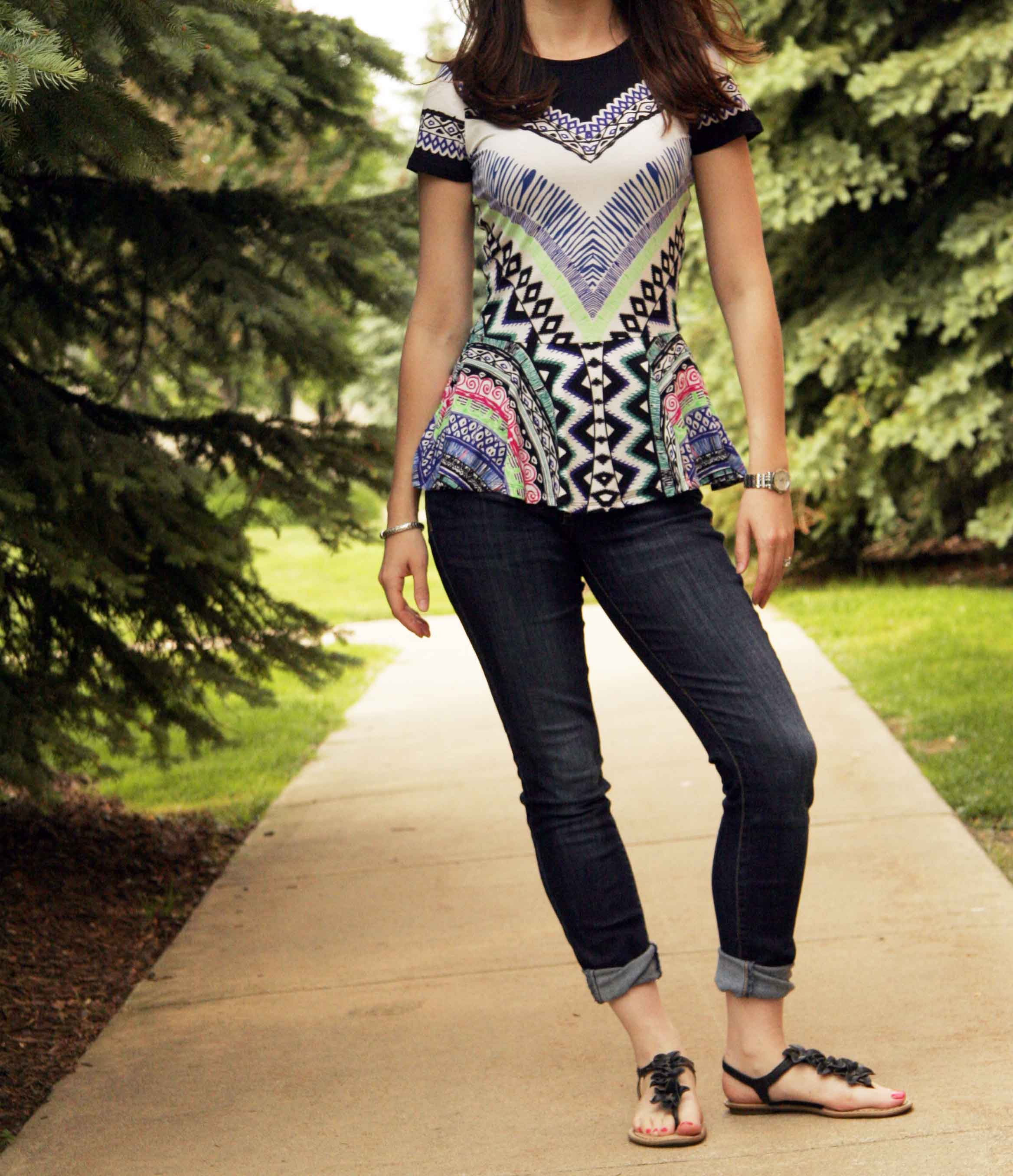 peplum top with jeans